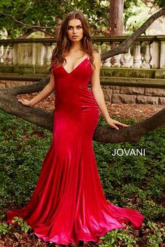 59227f7ca7 Jovani 57900 Hot pink long fitted spaghetti straps velvet backless prom  dress.