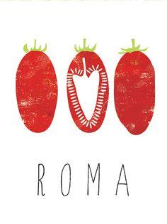 Roma Tomato graphic culinary art par FowlerCreativeArts sur Etsy