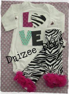 Valentines Day Baby girl onesie with Love in fuschia by Daizeedots, $22.50