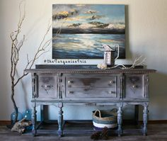 """The Turquoise Iris ~ Vintage Modern Hand Painted Furniture: Hand Painted Shades of Grey Antique Buffet in Rustic a Finish & Colour Palette, Number II in my Second """"Doors"""" Series"""