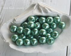 Glass Pearls 6 mm Pearls 6 mm beadsGreen Pearls by FreshBeadsCo, $3.25