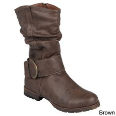 @Overstock.com - Journee Collection Women's 'Keli' Slouchy Buckle Detail Boots - These stylish boots by Journee Collection have an above the ankle style with a slouchy design and treaded soles for non-slip every day wear. Round toes and buckle detail complete the look of these versatile boots.  http://www.overstock.com/Clothing-Shoes/Journee-Collection-Womens-Keli-Slouchy-Buckle-Detail-Boots/8342884/product.html?CID=214117 $48.72