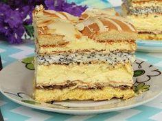 Słoneczna Latina to pyszne ciasto będące połączeniem kruchego ciasta z bezą i bakaliami, biszkoptu makowego oraz masy adwokatowej, biszkoptó... Polish Desserts, Polish Recipes, No Bake Desserts, Mini Cakes, Cupcake Cakes, Baking Recipes, Cake Recipes, Unique Desserts, Sweets Cake