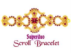 Tutorial Superduo Scroll Bracelet Pattern in 2 hole Super Duo Twin beads and Seed Beads. Original Design by Butterfly Bead Kits
