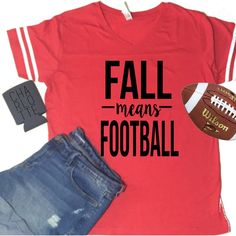 Fall Means Football Jersey Shirt S-2x Gameday Shirt Football Shirt... ($25) ❤ liked on Polyvore featuring tops, t-shirts, pink, women's clothing, football jerseys, vintage tee-shirt, vintage tees, football jersey t shirt and red checkered shirt