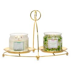 """Greet guests with your Signature Scent. This Display Stand presents two 3-Wick Jar Candles together for a simple elegant style. Goldtone metal. Also available in silvertone. Some simple assembly. For use with jar candles and pillars, sold separately. 9½""""h 24 cm h, 13""""w 32 cm w Partylite.biz/candleladydana"""