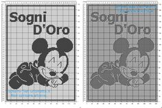 Free Disney filet crochet pattern baby blanket with baby Mickey Mouse sleeping Bobble Crochet, Crochet Afgans, Crochet Chart, Baby Blanket Crochet, Crochet Baby, Baby Mickey Mouse, Minnie, Baby Patterns, Crochet Patterns