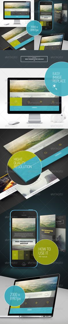 Web Presentation Mock-Up. This Mock-Up is made to present your web-design project. It lets you present you project in a compact, fast and good-looking way.