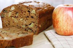 "Sixteen 1/2"" slices @ 5 smart points each Moist cinnamon apple bread made with homemade applesauce, small chunks of fresh apples and walnuts in every bite. It's so moist and delicious, you won't believe it's low fat! The scent of cinnamon and apples baking in the oven all morning ma..."