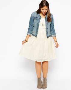 ASOS CURVE | Midi Dress In Lace With Short Sleeves