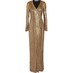 Diane von Furstenberg Ariel Armour sequined stretch-jersey wrap gown (€2.035) ❤ liked on Polyvore featuring stretch jersey and diane von furstenberg