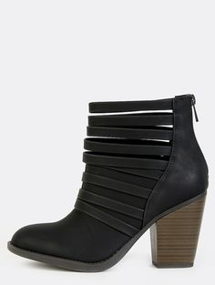 """Looking for a standout addition to your boots collection? The Strappy Stacked Heel Ankle Boots are just that! Features a strappy design, round toe, back zipper, and a nubuck/pu upper. Finished with 3.25"""" stacked chunky heel. Top the look with ripped skinny jeans and a fringe top!"""