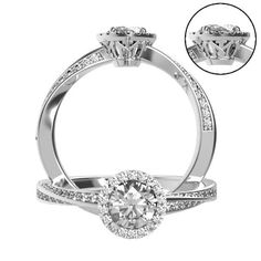 Custom made twisted engagement halo ring with M&I initials by lital efraim