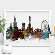 Chicago Skyline Wall Art, Chicago Art Poster, chicago skyline watercolor painting art Print, Abstract Chicago Cityscape, Decor Gift (147)