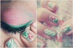makeup nails pink green flower pattern pale