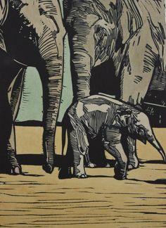 """First Walk"" linocut by Mark Rowden. http://www.wingedlionpress.com.au/ Tags: Elephants, Bull, Linocut, Cut, Print, Linoleum, Lino, Carving, Block, Woodcut, Helen Elstone."