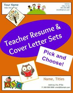teacher resume and cover letter sets from betsy weigle at classroom caboodle - Cover Letter Of Resume