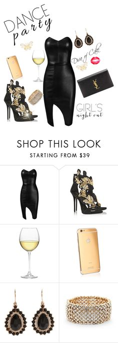 """""""Sexy black and gold outfit"""" by Diva of Cake featuring Giuseppe Zanotti, Nordstrom, Goldgenie, Irene Neuwirth, Sole Society and Yves Saint Laurent"""
