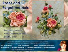 Seminar roses ribbon embroidery Ingrid Lee