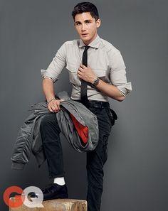 Logan Lerman: The Return of Top Gun Style   Shades of grey. Slim fit suit is perfect!