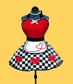 """Queen of Hearts Costume Apron - Women's Apron """"Queen of Sweet Hearts"""" Costume Apron Womens Apron 50s retro diner apron MADE TO ORDER"""