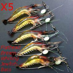 Ctrade Australia 5 x GLOW Rigged Prawn Fishing Lure Soft Plastics Flathead Bream