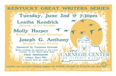 The Kentucky Great Writers Series featuring Leatha Kendrick, Molly Harper and Joseph G. Anthony on Tuesday, June 2, 2015 at 7:30 pm.