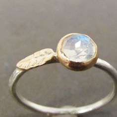 Rose Cut Moonstone Leaf Stack Ring 14k Gold and by LilianGinebra