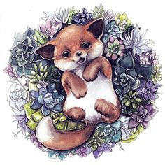 43 Ideas for baby drawing ideas tattoos Cute Animal Drawings, Cute Animal Pictures, Cute Drawings, Art And Illustration, Illustrations, Fox Drawing, Baby Drawing, Fantasy Kunst, Fantasy Art