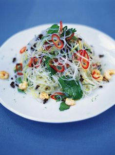 Asian Noodle Salad | Beef Recipes | Jamie Oliver Recipes Just prawns Add cucumber, sugar snap peas, carrot, bean sprouts