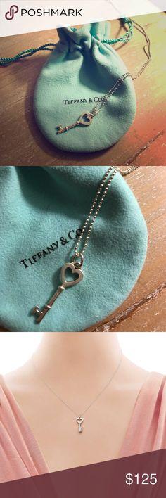 """Tiffany & Co. Heart Key Pendant Sterling silver 16"""" chain and key pendant Tiffany & Co. Jewelry Necklaces"""
