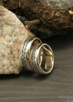 Braided wedding bands by WeddingRingsStore. Boho Wedding Ring, Wedding Band Sets, Womens Wedding Bands, Trendy Wedding, Gold Wedding, Wedding Decor, Wedding Ideas, Unique Diamond Engagement Rings, Vintage Engagement Rings