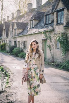 Our Favorite Places To Travel In The Spring - Gal Meets Glam | floral dress, trench coat, feminine style, girly outfit, garden party outfit, wedding outfit, spring outfit idea, how to style a floral dress, summer outfit idea