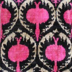 Fabric for bedroom -  Silk Velvet, uzbek ikat fabric