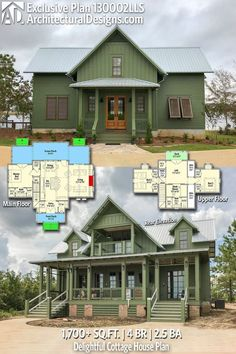 Architectural Designs Modern Farmhouse House Plan has 4 beds Lake House Plans, Dream House Plans, Small House Plans, House Floor Plans, Cottage House Plans, Cottage Homes, Farmhouse Plans, Modern Farmhouse, Planer