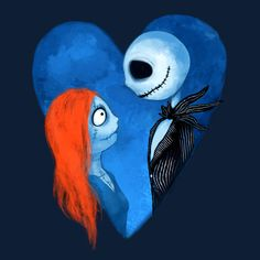 """Share with your friends :D -> """"Sally and Jack"""" designed by crumblingcookie <- Halloween Christmas, Halloween Art, Nightmare Before Christmas Book, Sally Skellington, You Don't Know Jack, Beauty And The Beast Movie, Tim Burton Films, Disney Tees, Jack And Sally"""
