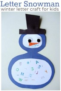 letter snowman craft for kids