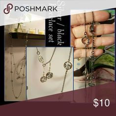 Necklace /earrings set I purchased this cute set a few months ago at Charming Charlie's. The necklace is very long and can be wrapped around the neck twice or more. Very cute set. Worn probably twice Charming Charlie Jewelry Necklaces