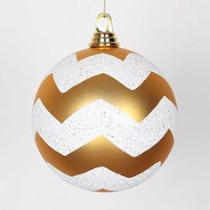 Felices Pascuas Collection Gold Matte with White Glitter Chevron Commercial Size Christmas Ball Ornaments 6 inch (150mm)
