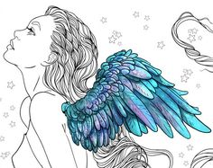 Butterfly Line Art, Rose Line Art, Art Rose, Male Fairy, Winged Girl, Face Illustration, Illustrations, Free Adult Coloring Pages, Pastel