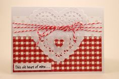 Old-fashioned charm is in abundance on this red and white Valentine's Day card. We've added red & white twine and a white doily. You'll find this at our shop:  CatieGraceCreations.etsy.com