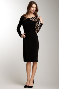 Anne Klein Contrast Dotted Mesh Ruched Dress by Blowout on @HauteLook