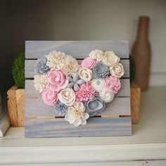 Pink and Gray Mini Wood Flowers Heart Board Sola Wood image 2 Sola Wood Flowers, Paper Flowers Diy, Felt Flowers, Flower Crafts, Fabric Flowers, Valentines Flowers, Valentines Diy, Felt Crafts, Paper Crafts