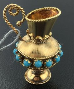 Vintage 14k yellow gold Turquoise vase charm, 7.0 grams in Jewelry & Watches, Fine Jewelry, Fine Charms & Charm Bracelets | eBay