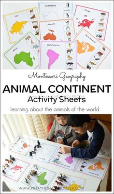 Hands On Activity to Learn about Geography and Animals Continents Activities, Geography Activities, Geography For Kids, Teaching Geography, Social Studies Activities, World Geography, 7 Continents, Teaching Social Studies, Color Montessori
