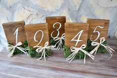 Rustic Wedding Table Numbers Moss Raffia on Stands, Wedding Wood Table Number, Centerpiece Numbers, Woodland Wedding. Rustic Wedding Foods, Rustic Wedding Cake Toppers, Woodland Wedding, Wedding Country, Rustic Table Numbers, Wooden Numbers, Wedding Table Numbers, Aisle Flowers, Reception Decorations