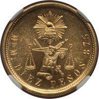 Mexico: Republic gold 10 Pesos 1904 Mo-M MS64 NGC