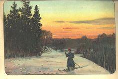 Åleine på skitur. Sign. Th. Holmboe. Eneret J.F. | by Osterøy Museum