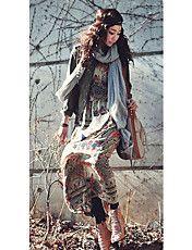 Women's Vintage Print Chiffon Split Maxi Dres... – CAD $ 30.48