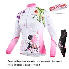 Bib Women/'s Bicycle Clothes Long Sleeve Jersey /& Padded Cycle Long Tights Set